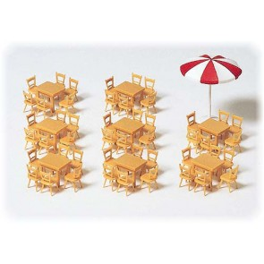 Preiser 17201 - 1:87 8 tafels  48 stoelen  1 parasol