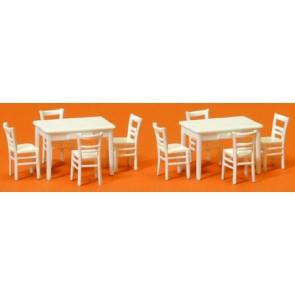 Preiser 17217 - 1:87 2 tafels  8 stoelen - Wit
