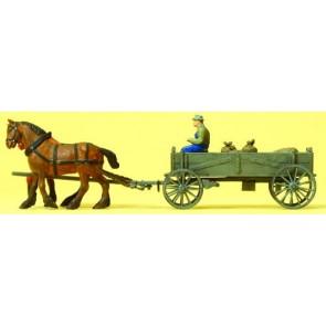 Preiser 30411 - 1:87 Paard en wagen - boer - lading