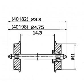 Roco 40198 - Radsatz eins.isol. 11mm   1 Pa