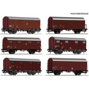 Roco 75952 - 12-tlg. Display: Gedeckte Güterwaen, DB