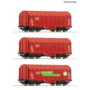 Roco 76011 - 3er Set Schiebeplanenwag. DB