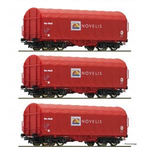 Roco 76095 - 3-tlg. Set: Schiebeplanenwagen, Novelis