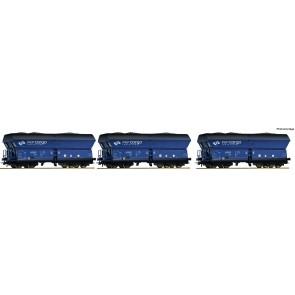 Roco 76130 - 3-tlg. Set: Selbstentladewagen gealtert mit Kohlebeladung, PKP Cargo