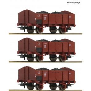 Roco 76199 - 3-tlg. Set: Offene Güterwagen, FS