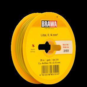 Brawa 3151 - Schaltlitze 0,14 mm², 25 m Spule, gelb