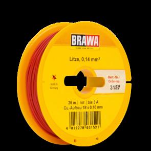 Brawa 3152 - Schaltlitze 0,14 mm², 25 m Spule, rot