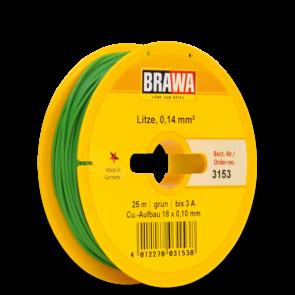 Brawa 3153 - Schaltlitze 0,14 mm², 25 m Spule, grün