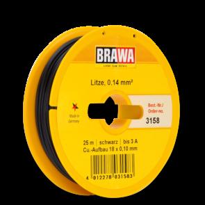 Brawa 3158 - Schaltlitze 0,14 mm², 25 m Spule, schw.