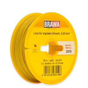 Brawa 3210 - Einzelader 0,25 mm², 25 m Spule, gelb