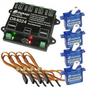 Digikeijs DR4024_BOX - Complete servo set incl. DR4024, 4x DR60030 en 4x DR60035