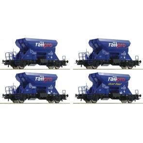 Roco 76137 - Vier ballastwagens Railpro met sproei-inrichting